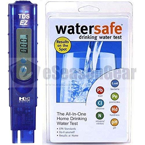TDS-EZ + WS-425B, HM Digital ppm Tester + Watersafe City Home Tap Drinking Water Test Kit, Bacteria, Lead, Pesticide, Nitrate / Nitrite, pH, Hardness, Chlorine by HM Digital Watersafe