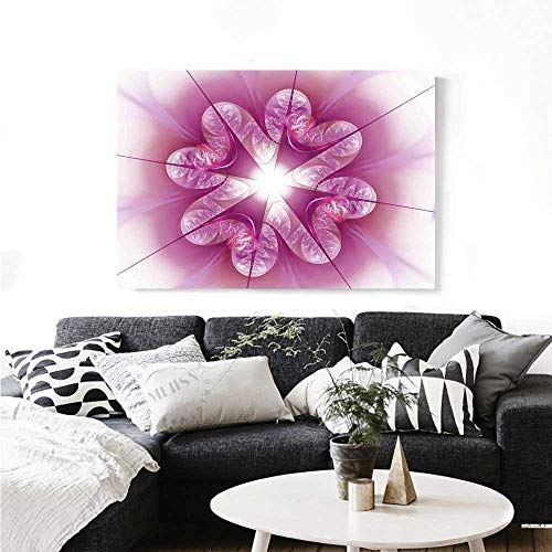 """Spires Canvas Wall Art Computer Rendered Abstract Fractal Flower Motif Gathered an Axis Polar Graphic Design Print Paintings for Home Wall Office Decor 36""""x24"""" Pink"""