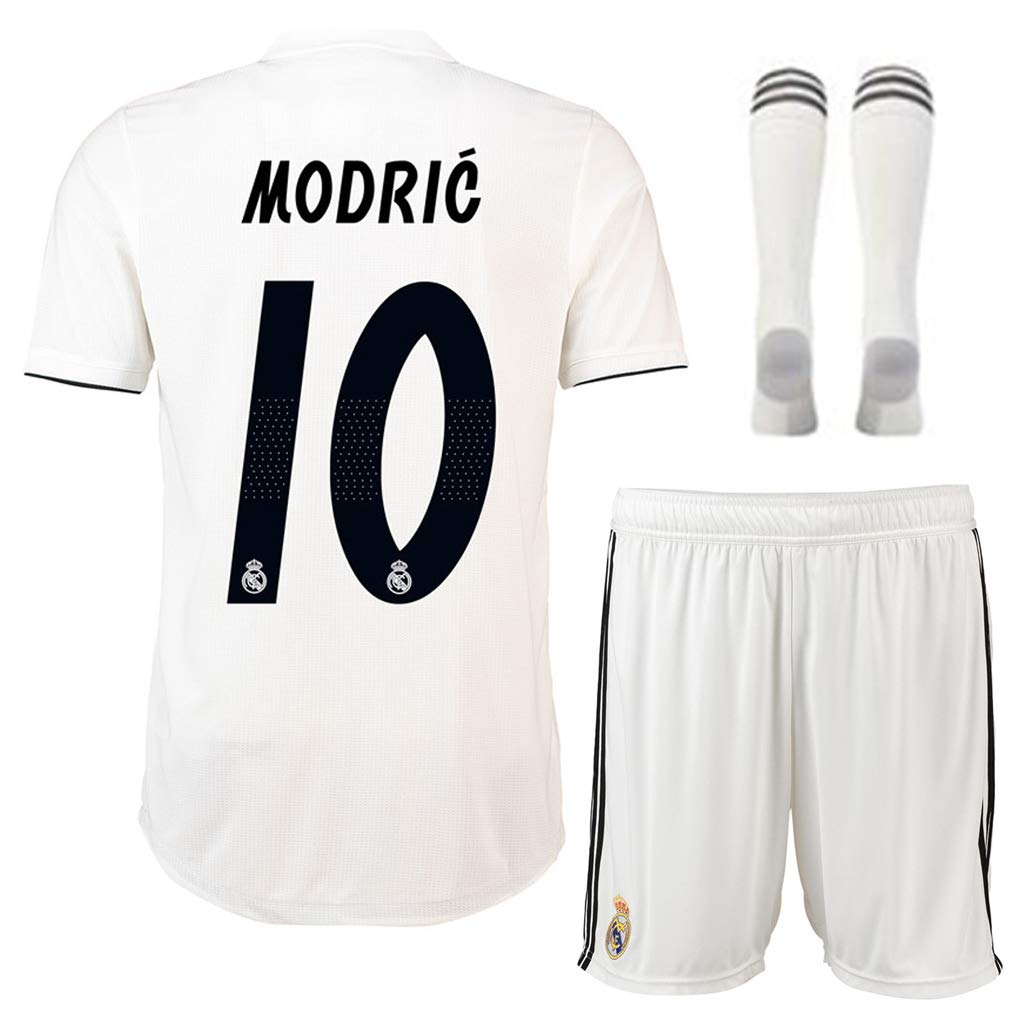 huge discount ecf3f 62c5a Luka Modric 10# Soccer Jersey Youth/Kids/Childs Real Madrid 2018/2019 Home  Jersey White (Medium)