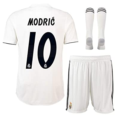 huge discount c952f c1702 Luka Modric 10# Soccer Jersey Youth/Kids/Childs Real Madrid 2018/2019 Home  Jersey White (Medium)