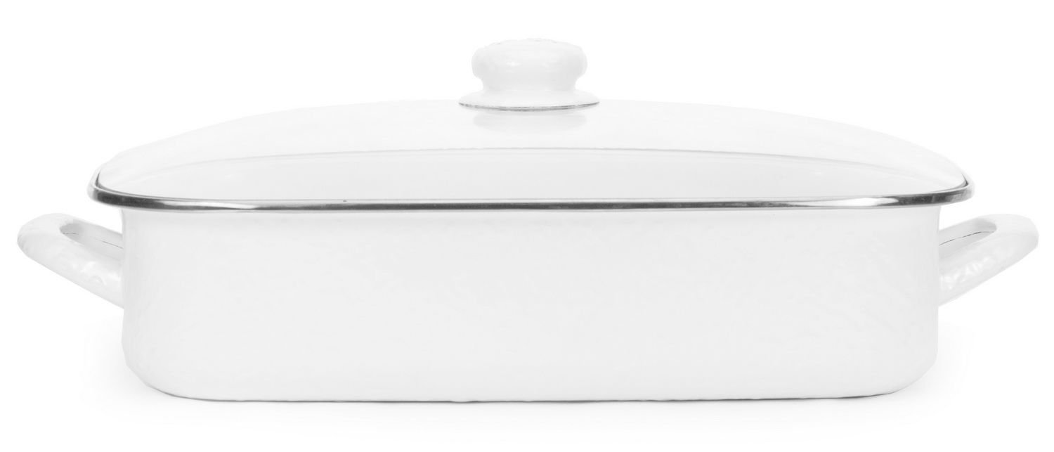 Enamelware, 16 x 12½ x 4 inch deep Lasagna Pan, holds 10½ quarts, with glass lid, Solid White holds 10½ quarts
