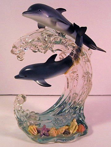 Lenox Dancing Dolphins, Lucite & Resin Figurine, Sea-Shell Accents, 9 Inches