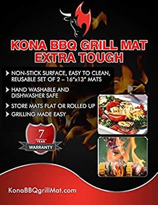"""Kona Best Grill Mat ~ NEW ~ XL BBQ Grill Mat Covers Up To An Entire 4 Burner Grill Grates Surface - Premium Non-Stick 17""""x25"""""""