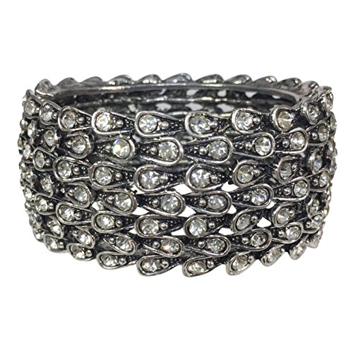 Statement Rhinestone Wide Hinged Bangle Bracelet - Assorted Colors (Clear)