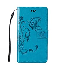 Huawei Y6 case,Gift_Source [Card Slot] [Kickstand Feature] Magnetic Closure PU Leather Flower Butterfly Embossed Wallet Case Folio Flip Case with Strap for Huawei Y6 smartphone [Blue]