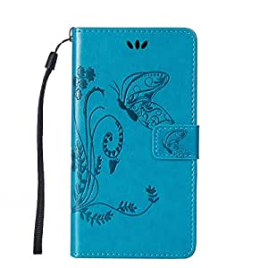 Funda Huawei Honor 5X Funda Case,Honor 5X Funda Case,Gift_Source [Card Slot] [Stand Feature] Magnetic Closure PU De Cuero Flower Butterfly Embossed Billetera Funda Case Folio Flip Funda Case Con Strap Para Huawei Honor 5X [Blue]