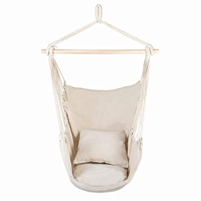 VICTORTECH Hammock Chair Hanging Rope Hanging Chair Pod Swing Seat Hammock Swing Chair - Max 250 Lbs-Hanging for Indoor and Outdoor 2 Seat Cushions Quality Cotton Weave (US Warehouse Stock): Garden & Outdoor