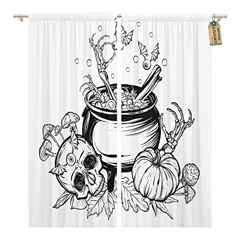 Emvency Window Curtains 2 Panels Rod Pocket Drapes Satin Polyester Blend Halloween The Witch Cauldron Skull Leaves Pumpkin Mushrooms on White Tattoos Living Bedroom Drapes Set 104 x 96 Inches
