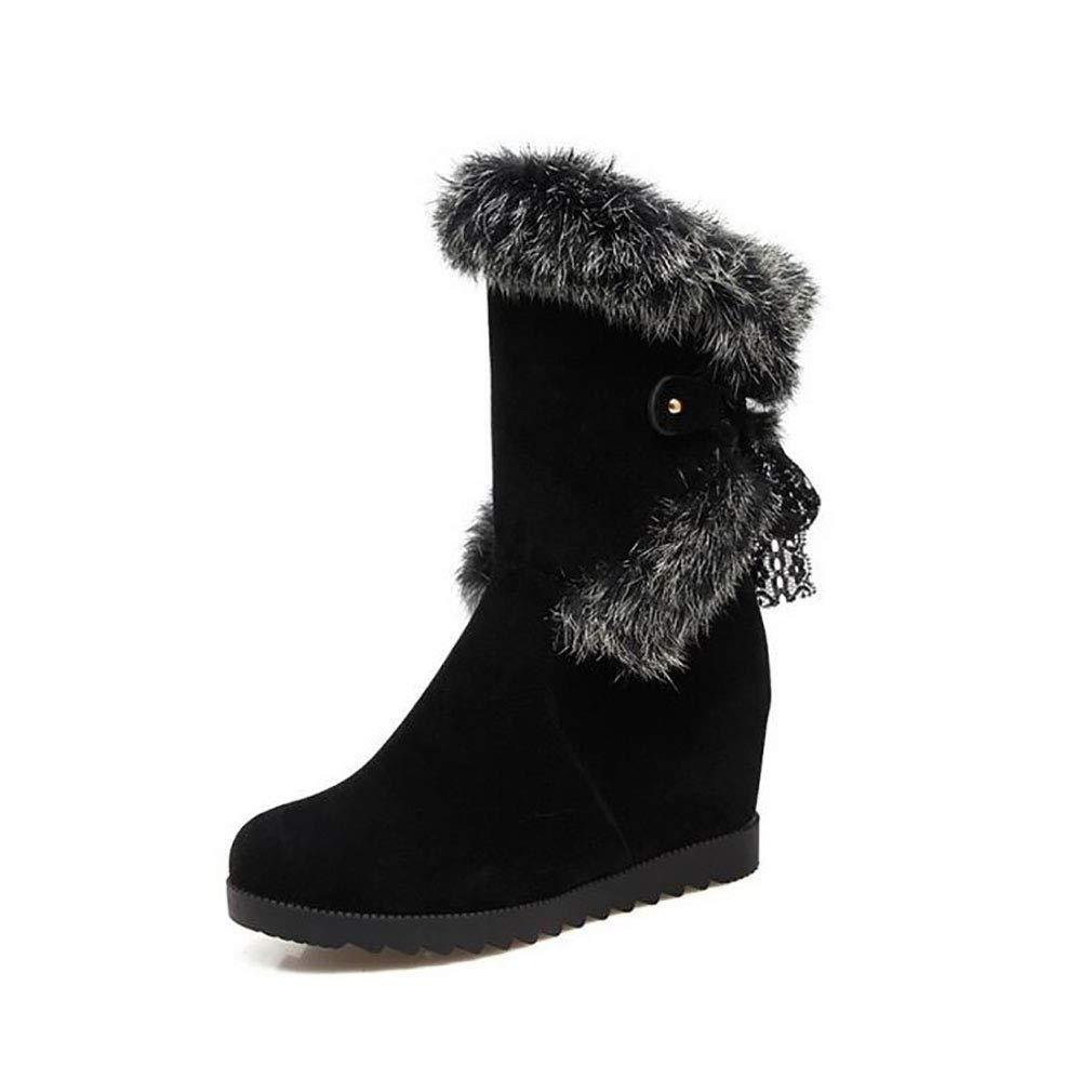 Hy Damen Wildleder Winter Comfort Schneestiefel Erhellen Runde Toe Stiefelies/Winter wasserdicht Snowproof Keilabsatz Stiefel/Fashion Stiefel Gelb/Schwarz / Beige (Farbe : C, Größe : 40)