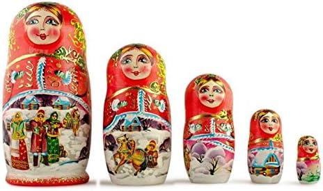Bestpysanky Satz von 5 Winter Night Matryoshka Wooden Russian Nesting Dolls 6.5 Inches