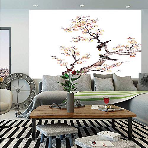 (Art Huge Photo Wall Mural,Traditional Chinese Paint of Flowers Plum Blossom Birds on Tree Romance Print Decorative,Self-adhesive Large Wallpaper for Home Decor 108x152 inches,Light Yellow Brown)