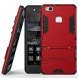 Funda para Huawei P9 Lite (5,2 Pulgadas) 2 en 1 Híbrida Rugged Armor Case Choque Absorción Protección Dual Layer Bumper Carcasa con pata de Cabra (Rojo)