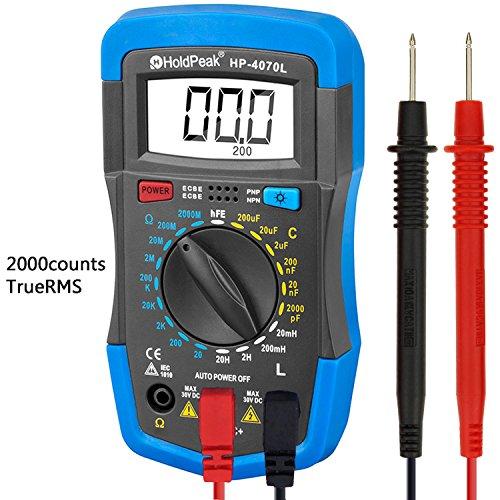 HOLDPEAK 4070L Manual-Ranging Digital Multimeter for Measuring Resistance,Capacitance, Inductance,Transistor, hFE of 2000 Count (Blue)