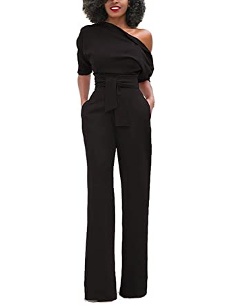 2be6b7e6b592 BYD Women Jumpsuit With Long Pants Wide Leg Trousers Elegant Rompers One  Shoulder Half Sleeve High Waist Solid Color Playsuit For OL Cocktail