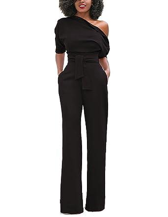 cbf3d70c50e7d1 BYD Femmes Combinaisons avec Ceinture Combishorts Pantalon Large Jambe  Taille Haute Epaules Dénudées Longue Élégant Rompers Jumpsuits Clubwear ...