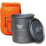 Titanium 750ml Pot with Lid and Travel Pouch – Ultra Lightweight Cup for Solo Backpacking and Open Fire Camping