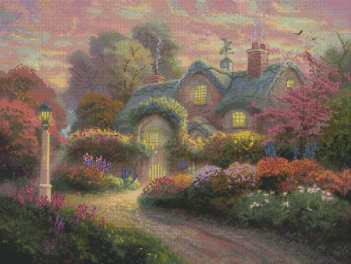 ebud Cottage by Thomas Kinkade No.51648 Counted Cross Stitch Kit, 16 by 12-Inch (Cottage Needlepoint)