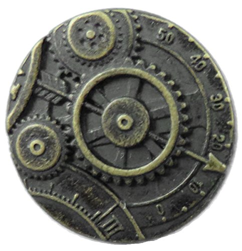 Steampunk Mechanism Button -Antique Brass Finish - 7/8