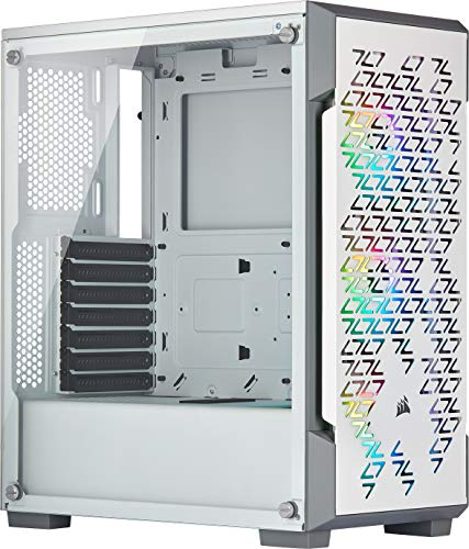 Corsair iCUE 220T RGB Airflow, Tempered Glass Mid-Tower ATX Smart Gaming Case, White