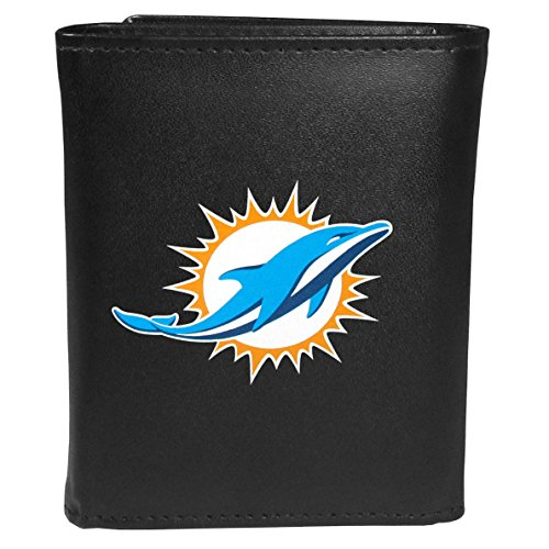 Siskiyou Sports NFL Miami Dolphins Tri-fold Wallet Large Logo, Black