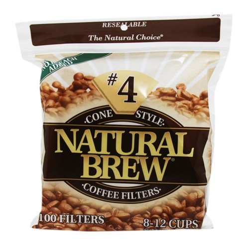 Natural Brew #4 Cone Coffee Filters, Natural Brown Paper, 100-Count Bags (Pack of (Cone Filter Paper Natural)