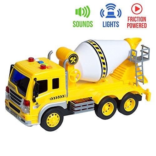 Friction Powered Toy Cement Truck Mixer with Lights & Sounds for Kids