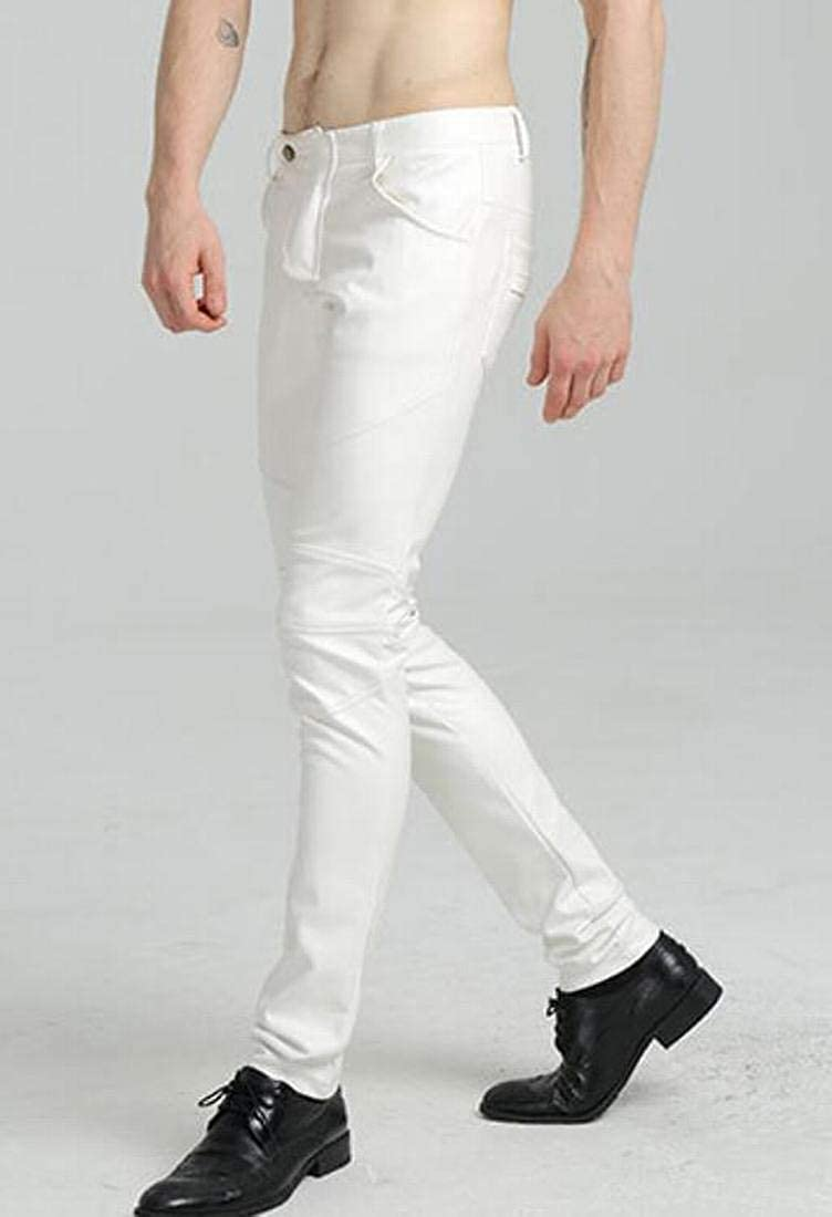 CRYYU Men Autumn PU Faux Leather Slim Fit Biker Fleece Pants Trousers