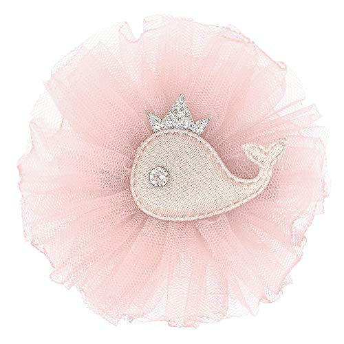 Deluxe Clip Hair Accessories for Girls Dresses and Outfits with Adorable Whale by Ecluv (Rose Pink)
