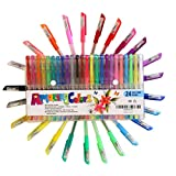 Amzing Colors Glitter Metallic Pastel and Neon Coloring Pens Set with Drawing ebook (Pack of 24)