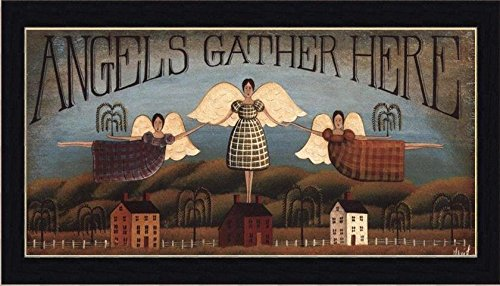 Primitive Framed Art (buyartforless IF SAGE DH035 20x10 1.25 Cblack Framed Angels Gather Here by David Harden 20X10 Folk Art Print Primitive Country Black Frame)