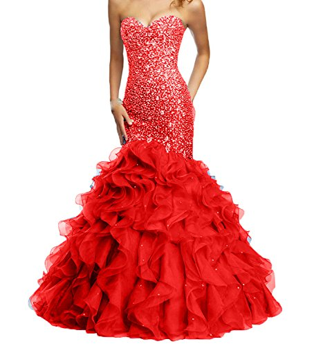 Fllbridal Women's Beaded Sweetheart Lace Up Mermaid Prom Dresses 2016 XC009 Red...