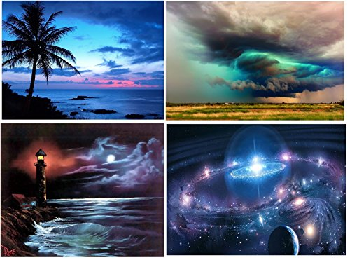 4 Pack DIY 5D Diamond Painting by Number Kits, Full Drill Crystal Rhinestone Embroidery Pictures Arts Craft for Home Wall Decor Gift (Coco, Lighthouse, Cosmic Stars, Dark Clouds, 11.8x15.7 inch)