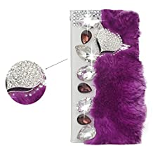 Spritech(TM) Bling Rhinestone Diamond Elegant Fox Design PU Leather Wallet Case Luxury Soft Beaver Rabbit Fur Hair Decor Wallet Purse Card Pouch Stand Case Cover for Samsung Galaxy S5