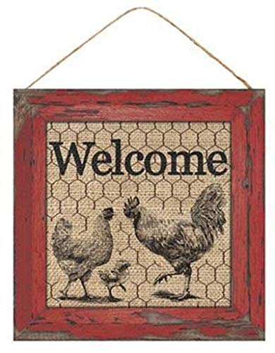 HAPPY DEALS ~ Rustic Farmhouse Welcome Sign 10 x 10 inch (Rooster)