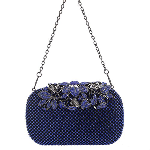 Rhinestones Clutch Bags Crystal Evening Bonjanvye with Flower Purses Blue qxCI1a