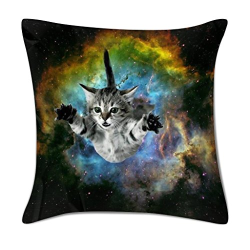 LIULIUS 18 Inch Galaxy Space Cat Mini Design Polyester Pillow Cover Soft Square Throw Pillowcase