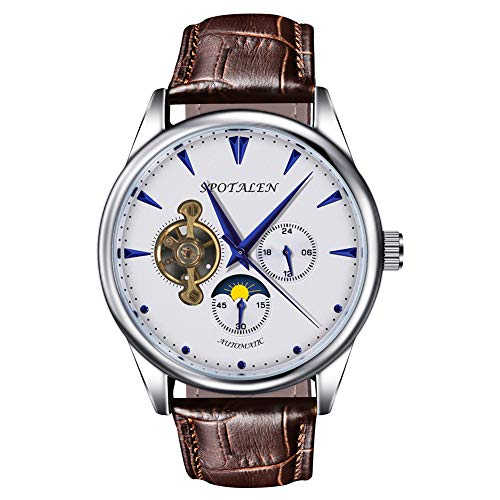 Dial Genuine Leather Band - Mechanical Watches for Men Skeleton Classic White Dial Genuine Leather Band Wrist Watch Automatic Hand-Wind Watch