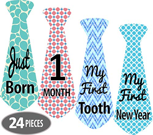 Mesmerico 24 Baby Monthly Holiday Tie Necktie Stickers – Baby Boy First Year Month Age Growth Milestones – Month Stickers for Baby Onesie Belly Stickers – Great Shower Registry Newborn Gifts