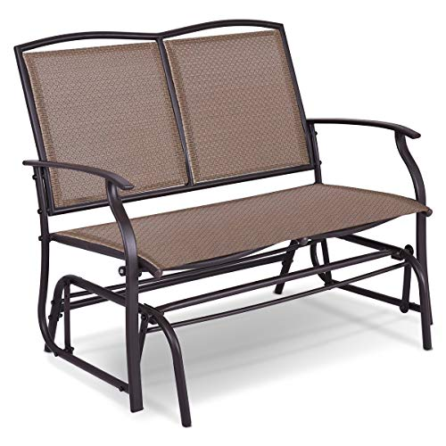 Giantex Patio Glider Textilene and Stable Steel Frame for Outdoor Backyard,Beside Pool,Lawn, Swing Loveseat Patio Swing Rocker Lounge Glider Chair (Double Patio Swing Doors)