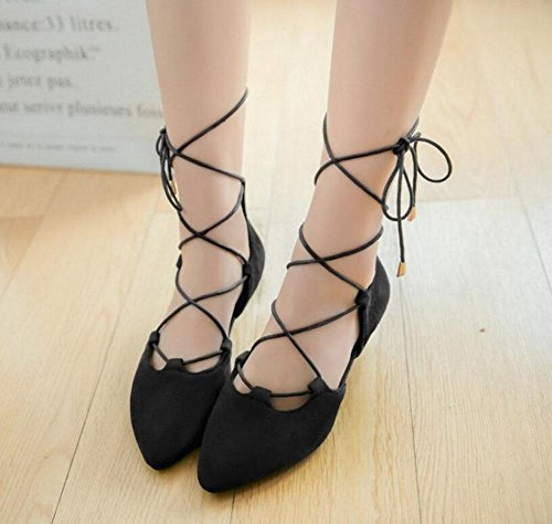 Side Sandals Straps Black Pumps Court Strap GLTER Suede Empty Ankle Shoes Pointed Women FUx0wYBq