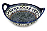 Polish Pottery Bowl with Handles 14-inch Gingham Flowers