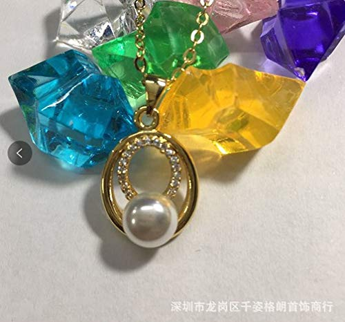 (fashion korean full diamond pearl pendant necklace 24k gold color retention (excluding single chain fall) wholesale generation)
