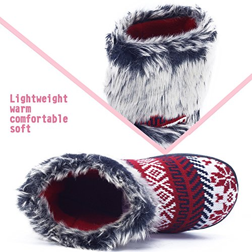 In Winter Boots Outdoor Bootie Indoor Womens Red Snow Warm Knitted Slipper qw8nRf