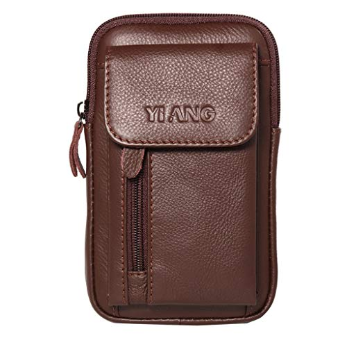 Crytech Men Leather Wallet Pouch Belt Fanny Waist Pack with Key Ring Pure Color Small Multipurpose Zipper Phone Carrying Case Holster Coin Purse Crossbody Shoulder Sling Bag for Business Work (Brown)