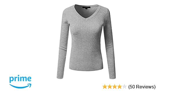 ddf0524c2c JJ Perfection Women s Classic Long Sleeve V-Neck Cable Knit Sweater Black  at Amazon Women s Clothing store