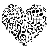 Music Notes Heart(small), Black- Vinyl Wall Art Decal for Homes, Offices, Kids Rooms, Nurseries, Schools, High Schools, Colleges, Universities