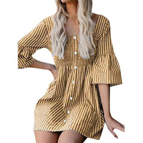 Sunhusing Ladies Casual Pleated Striped Tube Top Button Round Neck Frill Short Sleeve Flare Sleeve Mini Dress Khaki