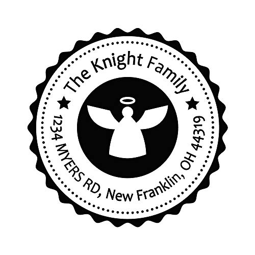 Personalized Address Stamp Flying Angel Fashion Design Custom Holiday Xmas Christmas Ink Rubber Stamps ()