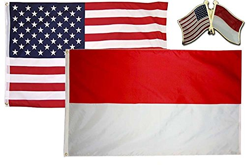 K's Novelties 2 Flag set with matching Pin USA & Indonesia C