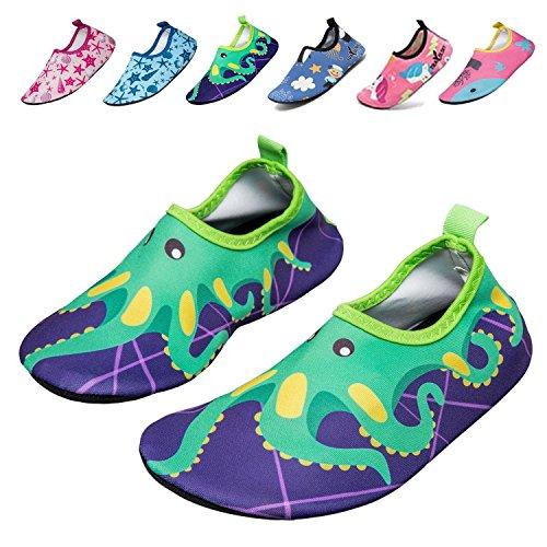 UMmaid Kids Toddler Water Swim Shoes Barefoot Aqua Socks for Beach Pool Surf Yoga 3-4.5 M US Big kid Green-Octopus 3XL